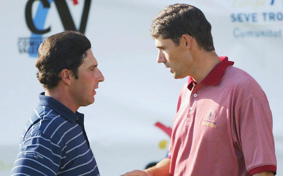 Jose Maria Olazabal and Padraig Harrington discuss the incident after their round. - GETTY IMAGES