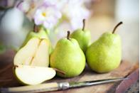 """<p>Also full of healthy fiber, pears are a great choice for a crunchy snack. In fact,<a href=""""https://www.sciencedirect.com/science/article/abs/pii/S0963996914007844?via%3Dihub"""" rel=""""nofollow noopener"""" target=""""_blank"""" data-ylk=""""slk:one study"""" class=""""link rapid-noclick-resp""""> one study </a>suggests that eating whole Bartlett and Starkrimson pears may even help manage type-2 diabetes. </p><p><em>1 serving = 1 small pear</em></p>"""