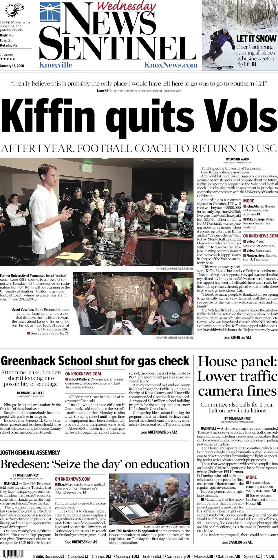 The Knoxville News Sentinel front page on Wednesday, January 13, 2010 after Lane Kiffin announced his resignation as football coach at the University of Tennessee.