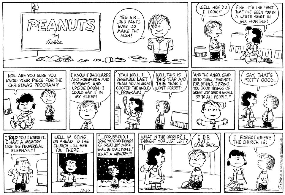 Linus first quoted scripture in a 1959 'Peanuts' comic strip (Photo: Peanuts Worldwide)