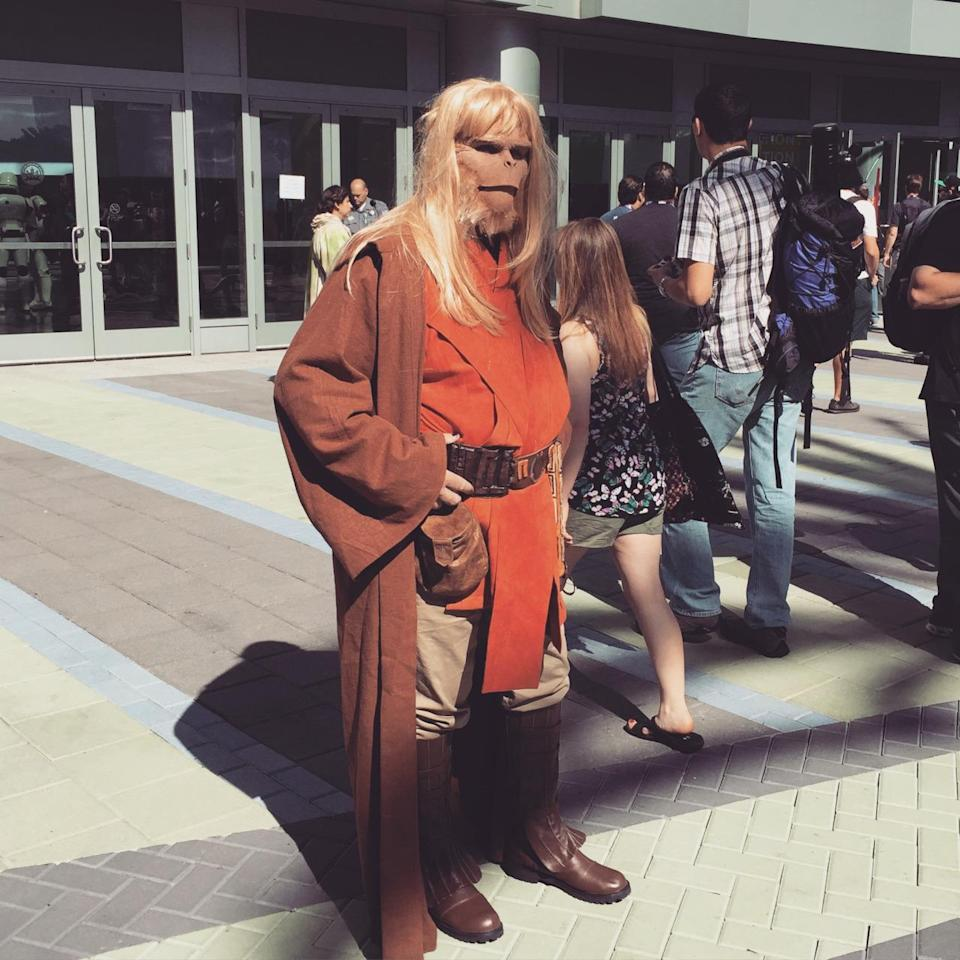 Some cosplayers obviously play mix-and-match with their outfits, but you have to admit the 'Planet of the Apes' lawmaker fills out the robes nicely.