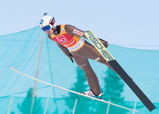 Ski Jumping - FIS World Cup - Men's HS240 Qualification - Vikersund, Norway - March 16, 2018 Kamil Stoch of Poland in action. Terje Bendiksby/NTB Scanpix/via REUTERS ATTENTION EDITORS - THIS IMAGE WAS PROVIDED BY A THIRD PARTY. NORWAY OUT.