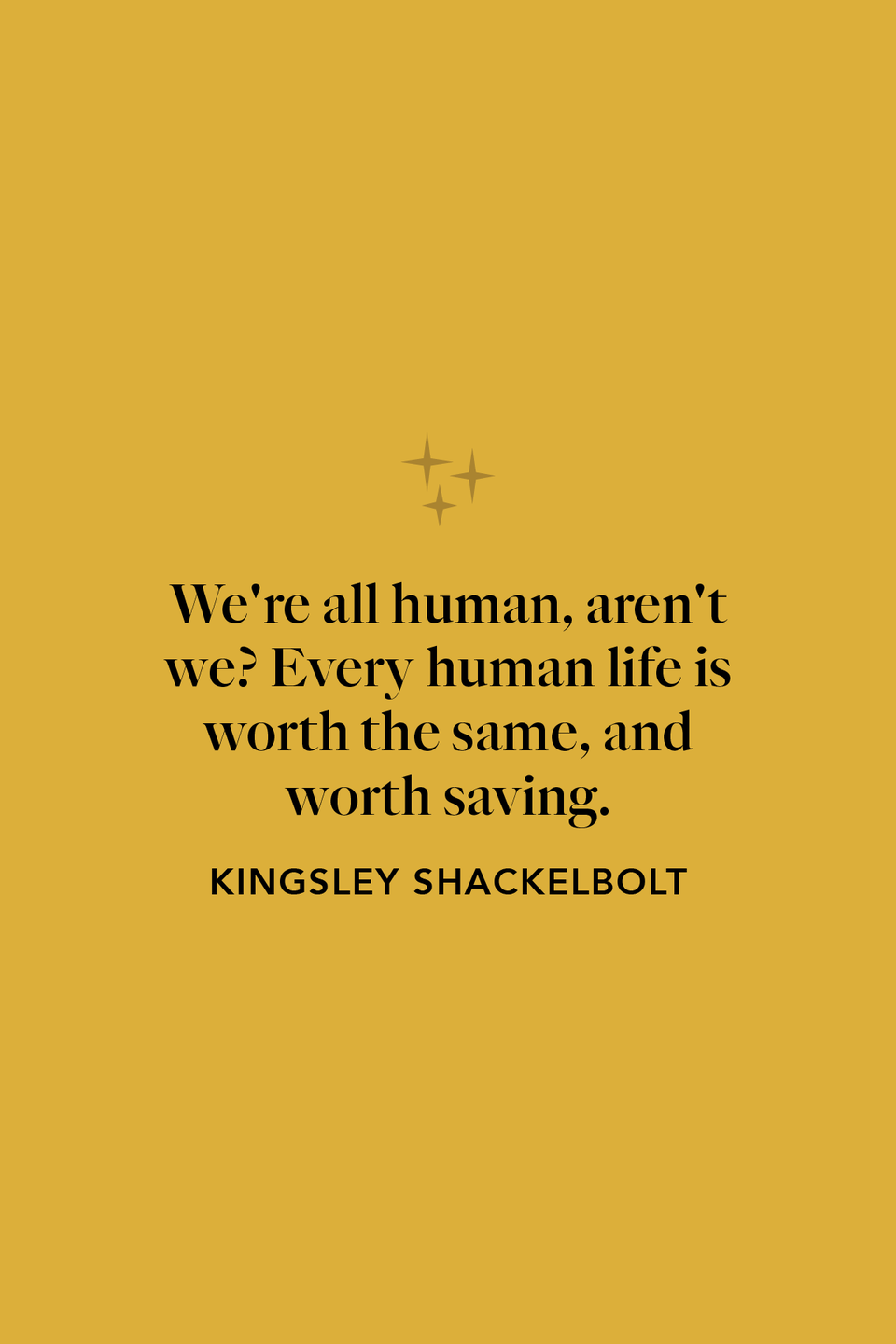 """<p>""""We're all human, aren't we? Every human life is worth the same, and worth saving,"""" Kingsley Shacklebolt says in chapter 22 of <em>The Deathly Hallows</em>.</p>"""