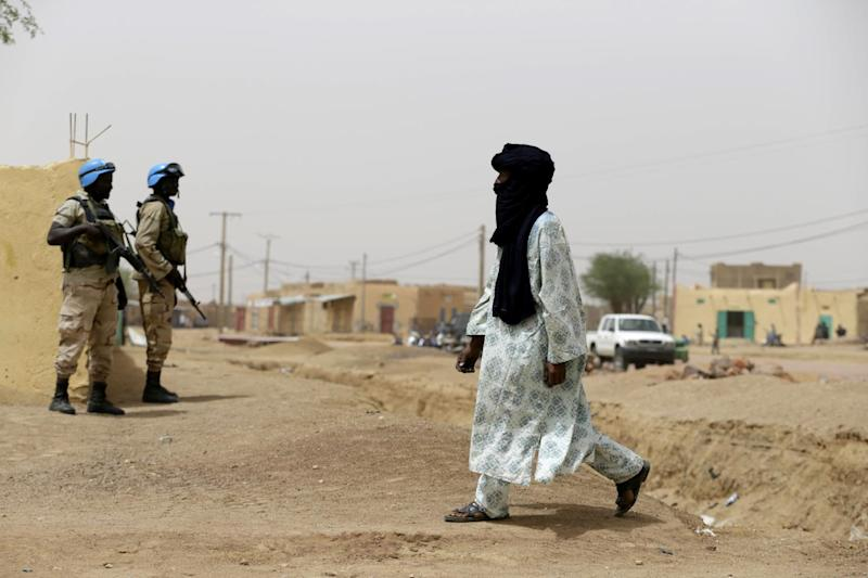 File photo of United Nations soldiers on patrol in the northern Malian city of Kidal