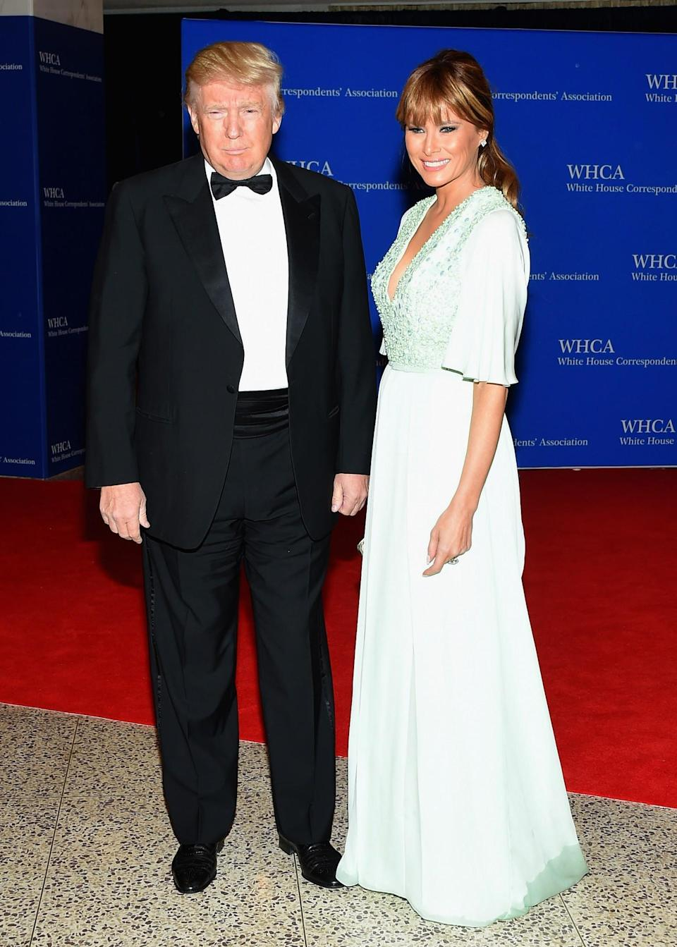 <p>Melania opted for an embellished mint gown and sophisticated hairdo for a dinner at the White House. <i>[Photo: Getty]</i> </p>