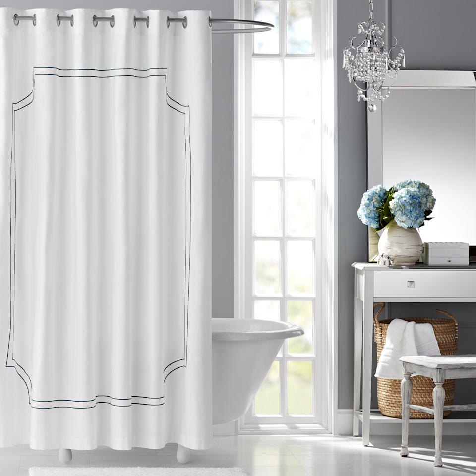 Hotel Style Florence Embroidered Fabric Shower Curtain (Credit: Walmart)