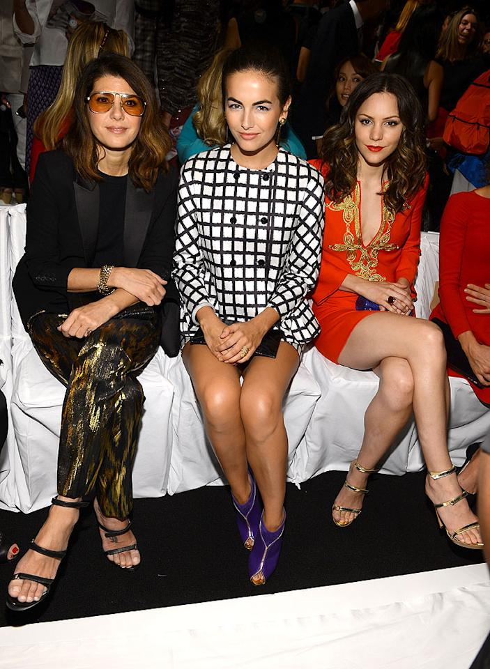 "Marisa Tomei, Camilla Belle and Katharine McPhee sat front row at the Michael Kors show. The ""Smash"" star recently scored the One to Watch honor at the 2012 Style Awards. Judging from her gorgeous orange dress and ruby red pout, we'd agree that she is completely deserving of the accolade. (9/12/12)"