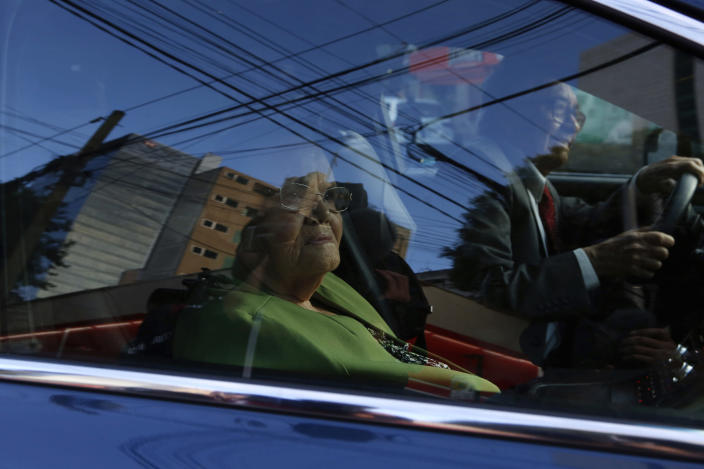 "Consuelo Loera, mother of Mexican drug lord Joaquin ""El Chapo"" Guzman, arrives in a car driven by lawyer Jose Luis Gonzalez to the U.S. Embassy in Mexico City, Mexico, Saturday, June 1, 2019. Loera was granted a visa so she can visit her son in prison. (AP Photo/Ginnette Riquelme)"