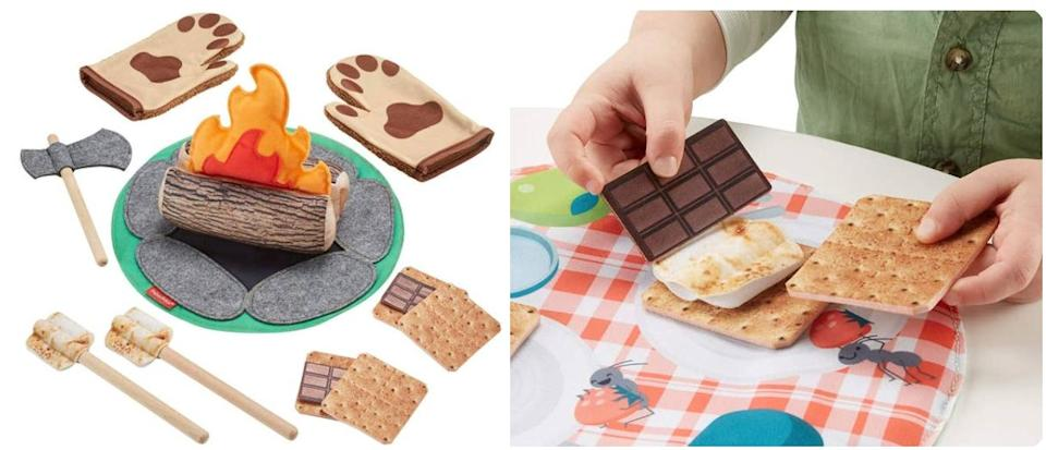 """Trade all the danger of wood-chopping, roaring-fires and grizzly bear attacks for kid-friendly wood accents and soft fabric. Plus, no marshmallow and chocolate stains!<br /><br /><strong>Promising review:</strong>""""My daughter is almost 4 and has recently gotten into building tents and forts out of pillows. We used my phone to 'make a fire' but I wanted to get her something cute she could play with instead of my phone. This fits the bill and is affordable. It's cool that you can cut the firewood with the felt ax.<strong>The marshmallows are double-sided, one side is uncooked and the other is cooked. It's also nice that the mat for the fire can double as a picnic pad too.</strong>The material seems very durable as well. The box that this comes in is cute and doubles for storage as well."""" —<a href=""""https://amzn.to/3sJfZE7"""" target=""""_blank"""" rel=""""noopener noreferrer"""">Christie</a><br /><strong><br />Get it from Amazon for<a href=""""https://amzn.to/3sO9dNu"""" target=""""_blank"""" rel=""""noopener noreferrer"""">$24</a>.</strong>"""