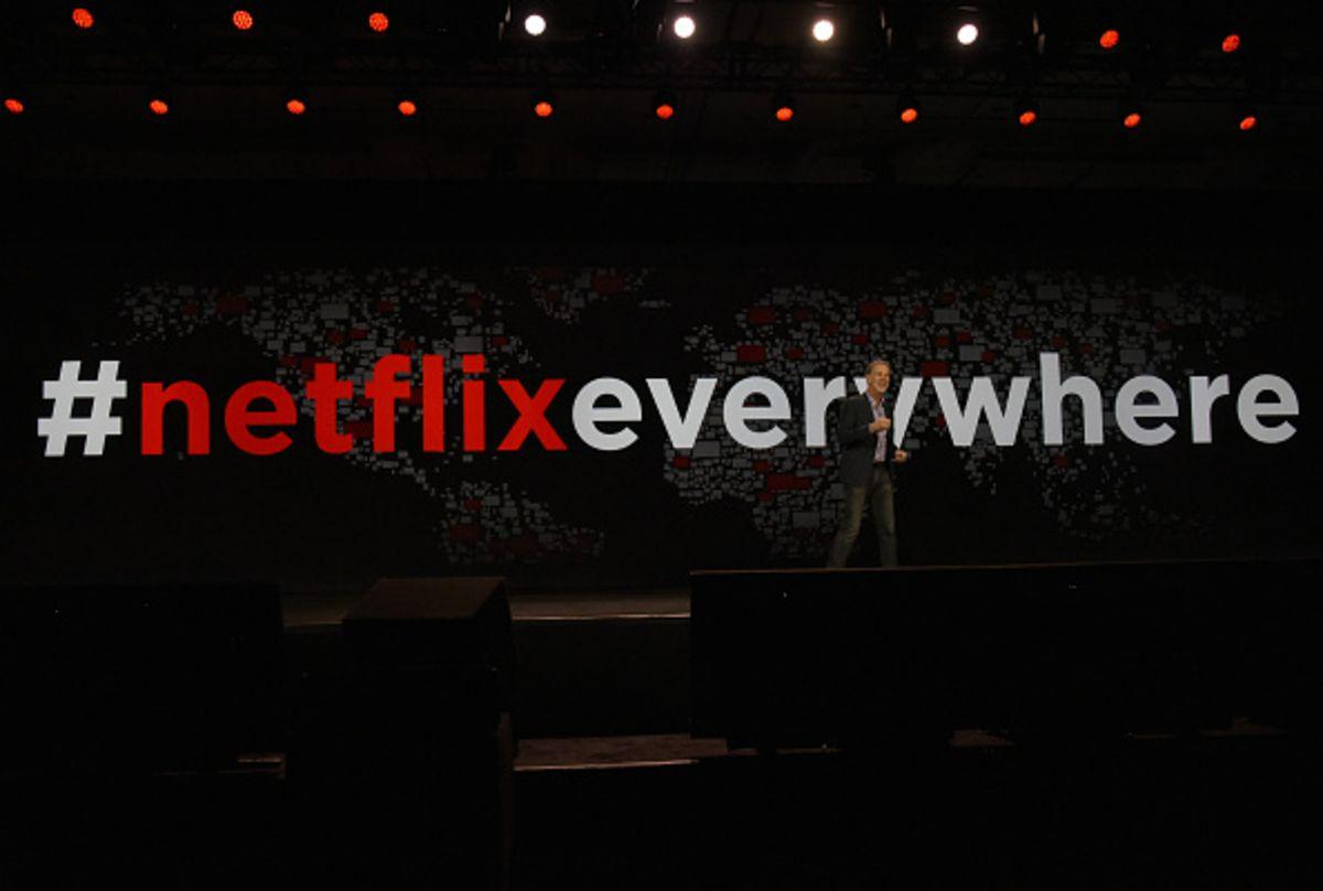 Reed Hastings, chairman, president and CEO of Netflix Inc., delivers a keynote address during an event at the 2016 Consumer Electronics Show (CES) in Las Vegas, Nevada, U.S., on Wednesday, Jan. 6, 2016. CES is expected to bring a range of announcements from major names in tech showcasing new developments in virtual reality, self-driving cars, drones, wearables, and the Internet of Things. Photographer: David Paul Morris/Bloomberg via Getty Images