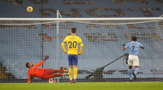 Raheem Sterling, right, sends his penalty over the bar against Brighton