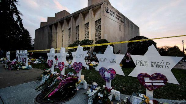 PHOTO: A makeshift memorial stands outside the Tree of Life synagogue in the aftermath of a deadly shooting in Pittsburgh, Oct. 29, 2018. (Matt Rourke/AP, FILE)