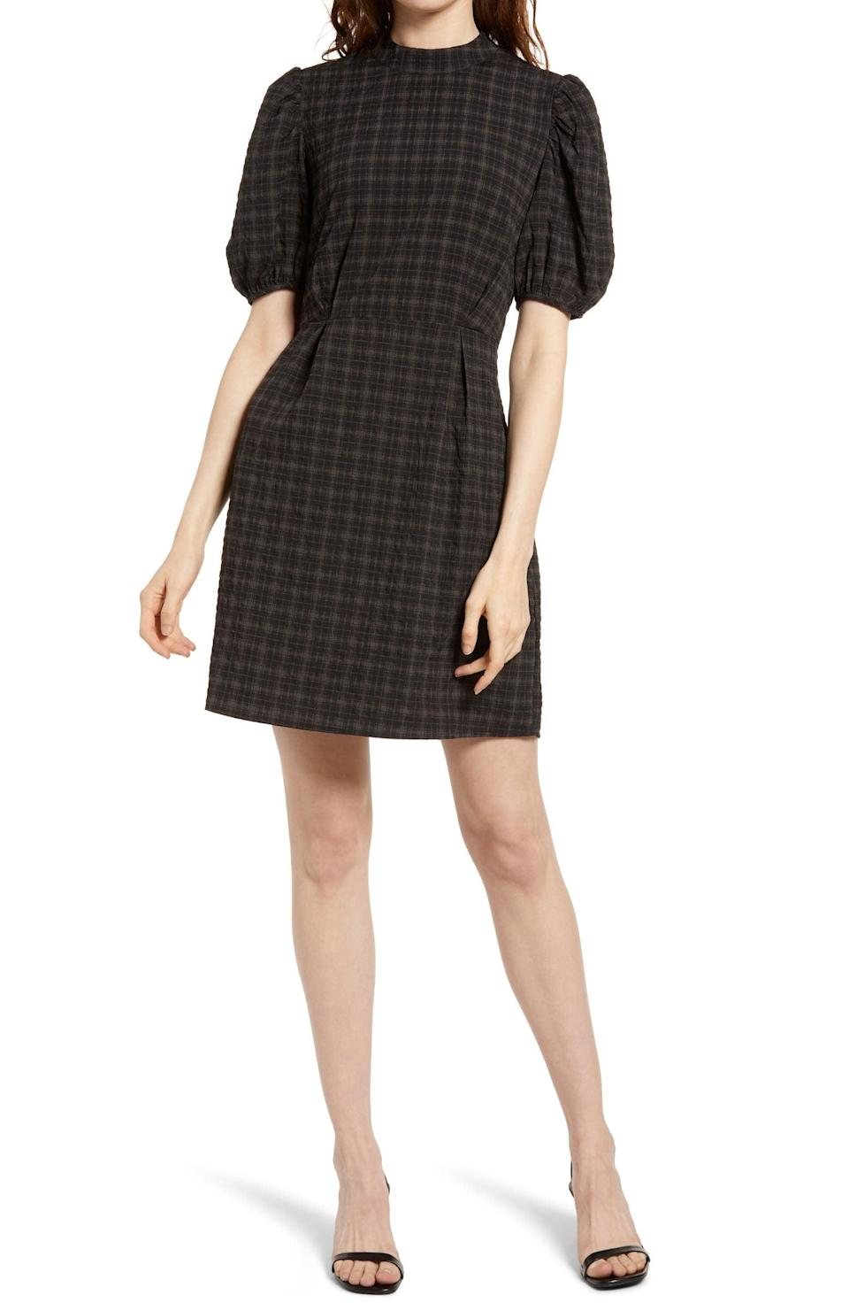 <p>Tap into the dramatic sleeve trend with this <span>Aware By Vero Moda Maddie Plaid Puff Sleeve Dress</span> ($41, originally $$75).</p>