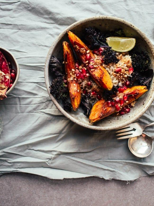 "If you want something on the lighter side, squash makes a great addition to salads and grain bowls. While this recipe uses another variety of squash, it works just as well with butternut as the pomegranate seeds and roasted kale bring everything together for a sweet, sharp and savoury bite.<br><br><strong><a href=""https://topwithcinnamon.com/squash-crispy-kale-bowls/"" rel=""nofollow noopener"" target=""_blank"" data-ylk=""slk:Squash & Crispy Kale Bowls with Pomegranate and Miso-Ginger Dressing"" class=""link rapid-noclick-resp"">Squash & Crispy Kale Bowls with Pomegranate and Miso-Ginger Dressing</a> by Top With Cinnamon</strong>"
