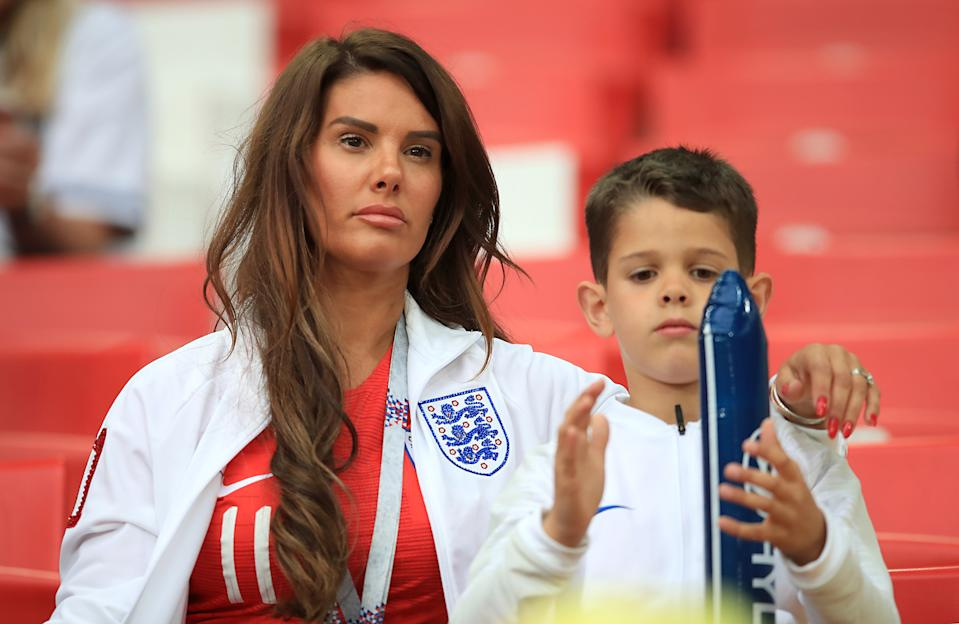 Rebekah Vardy in the stands ahead of the FIFA World Cup 2018, round of 16 match at the Spartak Stadium, Moscow.