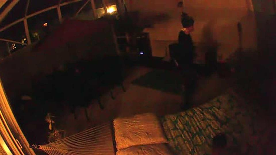 Security footage revealed this image of a figure lurking in Gretchen Anthony's patio on the last day she was seen alive. / Credit: Palm Beach County State Attorney's Office
