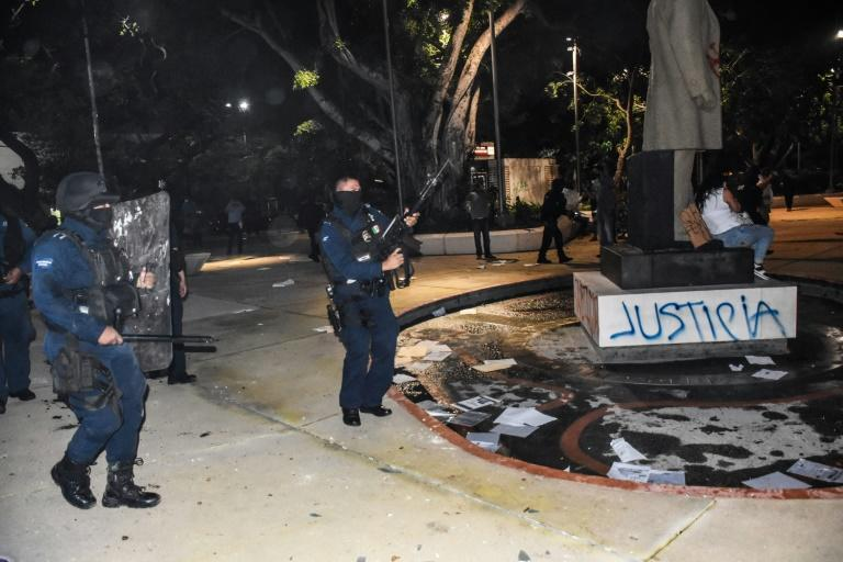 A police crackdown on a protest against the murder of a woman in the Mexican resort city of Cancun sparked national outcry