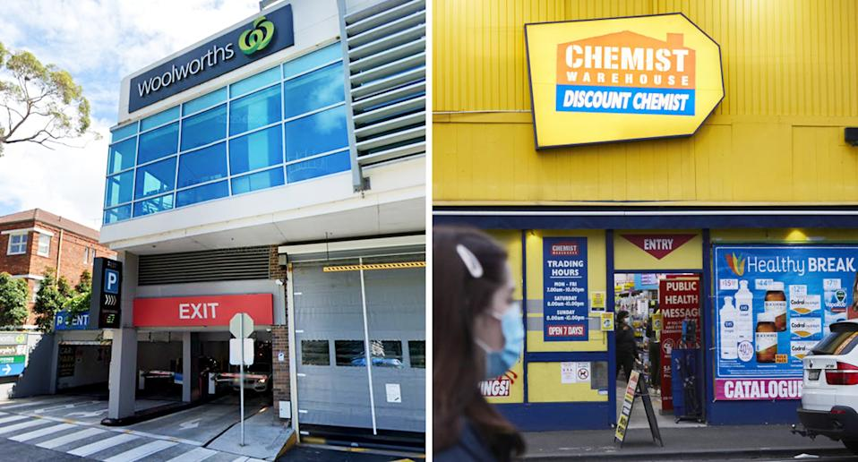 Pictured are Woolworths and Chemist Warehouse store fronts.