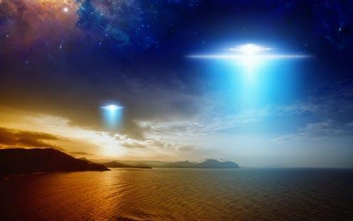 """<span class=""""caption"""">The evidence so far isn't very specific.</span> <span class=""""attribution""""><a class=""""link rapid-noclick-resp"""" href=""""https://www.shutterstock.com/image-photo/amazing-fantastic-background-extraterrestrial-aliens-spaceship-718238302"""" rel=""""nofollow noopener"""" target=""""_blank"""" data-ylk=""""slk:IgorZh/Shutterstock"""">IgorZh/Shutterstock</a></span>"""
