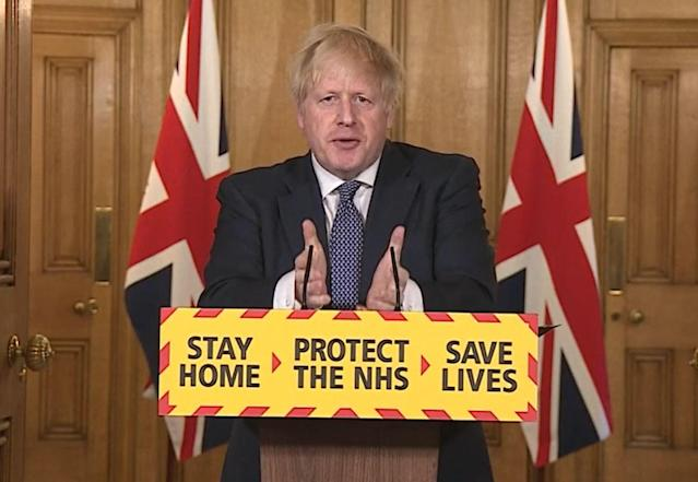 Boris Johnson at Thursday's coronavirus press conference in Downing Street. (PA Video/PA Images via Getty Images)