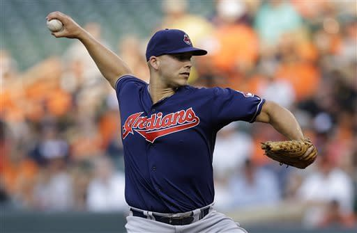 Cleveland Indians starting pitcher Justin Masterson throws to the Baltimore Orioles in the first inning of a baseball game, Tuesday, June 25, 2013, in Baltimore. (AP Photo/Patrick Semansky)