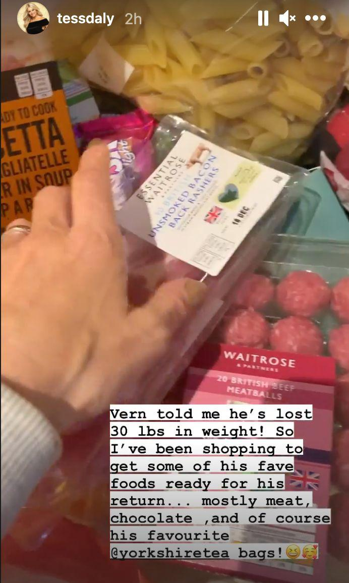 Tess went shopping for all of Vernon's favourite foods (Photo: Instagram)
