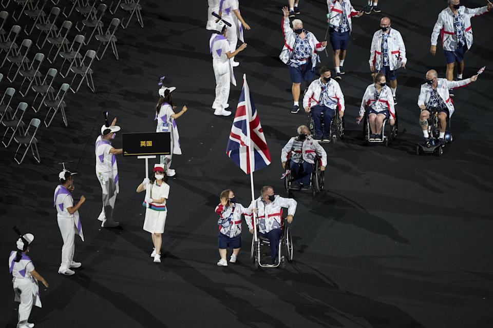 ParalympicsGB flag bearers Ellie Simmonds and John Stubbs lead the team in the Paralympic opening ceremony (Imagecomms)