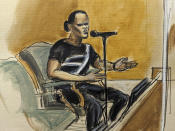 In this courtroom sketch, Dhanai Ramanan testifies for the defense during the R. Kelly sex trafficking trial, Monday, Sept. 20, 2021, in New York. (AP Photo/Elizabeth Williams)