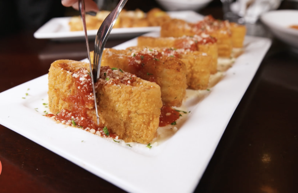 <p>Do you love lasagna? OK, what about deep-fried lasagna? The parmesan breading, marinara drizzle, and creamy alfredo sauce make this app a work of damn art.</p>