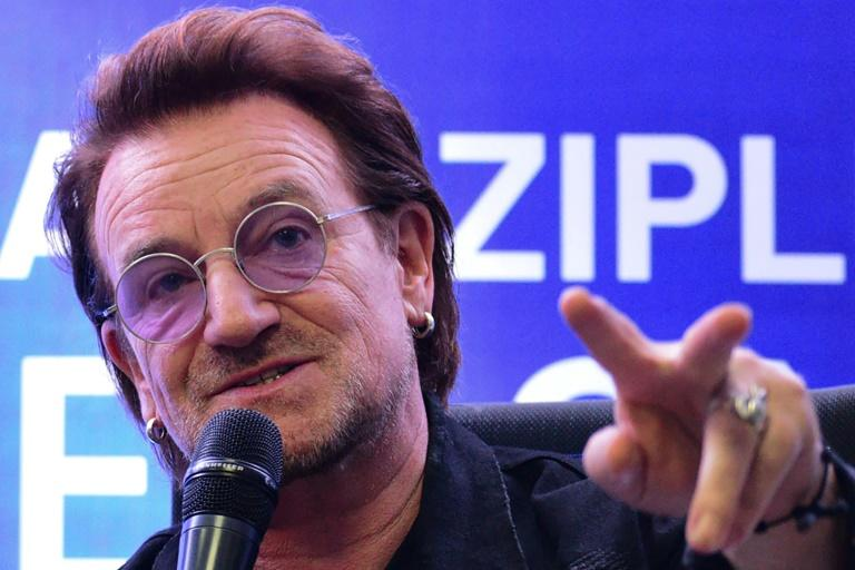 'You can't compromise on human rights,' U2 frontman singer Bono said when asked about his views on human rights in the Philippines (AFP Photo/Maria TAN)
