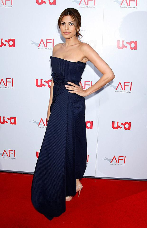 """Eva Mendes pops a pose in a sexy strapless evening gown. We love the look ... except for the flat hairdo. Jeffrey Mayer/<a href=""""http://www.wireimage.com"""" target=""""new"""">WireImage.com</a> - June 12, 2008"""