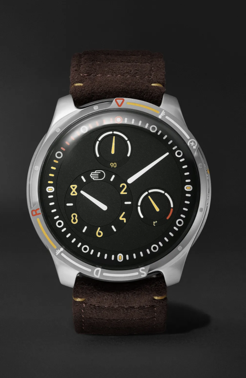 """<p><strong>Ressence</strong></p><p>mrporter.com</p><p><strong>$36500.00</strong></p><p><a href=""""https://go.redirectingat.com?id=74968X1596630&url=https%3A%2F%2Fwww.mrporter.com%2Fen-us%2Fmens%2Fproduct%2Fressence%2Fluxury-watches%2Fsmart-watches%2Ftype-5x-limited-edition-automatic-46mm-titanium-and-rubber-watch%2F19971654706816657&sref=https%3A%2F%2Fwww.townandcountrymag.com%2Fstyle%2Fjewelry-and-watches%2Fg14418271%2Fbest-mens-luxury-watches%2F"""" rel=""""nofollow noopener"""" target=""""_blank"""" data-ylk=""""slk:Shop Now"""" class=""""link rapid-noclick-resp"""">Shop Now</a></p><p>Fully legible at any angle underwater and made in collaboration with Eugenio Amos, founder of Automobili Amos, this watch has a lot going for it. It also has an olive green face with interchangeable green rubber or brown leather straps. </p><p>Case size: 46mm</p>"""