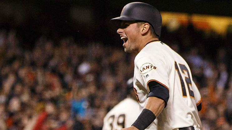 Two games into the season, the Giants have two 1-0 wins on home runs by Panik. (AP)
