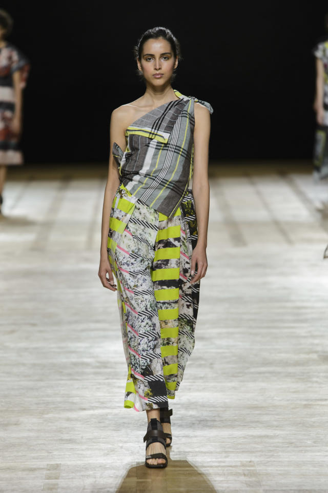 <p><i>One shoulder graphic print dress from the SS18 Issey Miyake collection. (Photo: ImaxTree) </i></p>