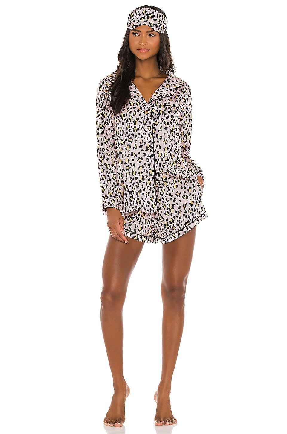 <p>Get cozy with this <span>Plush Cheetah Pajama and Eyemask Set</span> ($152).</p>