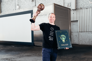Mr. Manfred Ledermüller, Founder & CTO Imhotep.Industries Austria with his Energy Globe World Award in the Category Water.