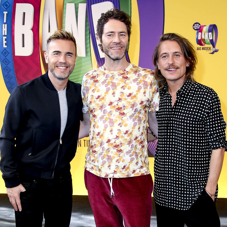The Take That singers Gary Barlow, Howard Donald and Mark Owen during the photocall 'The Band – Das Musical' on April 1, 2019 in Berlin, Germany. (Photo by Isa Foltin/Getty Images)