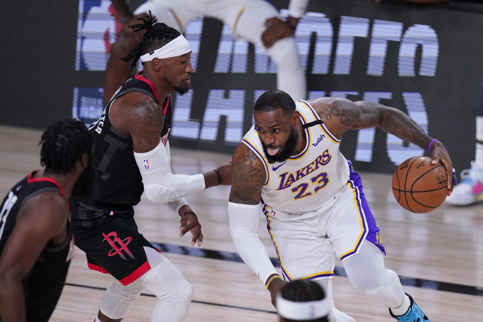 LeBron James was in full control in Game 5 against the Rockets. (AP Photo/Mark J. Terrill)