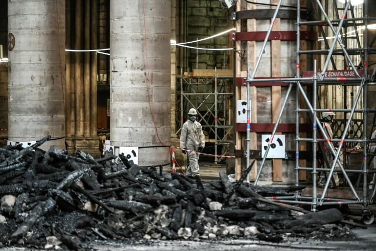 Workers inside the cathedral hav to wear special masks because of the presence of lead which had seeped into some of the stonework (AFP Photo/STEPHANE DE SAKUTIN)