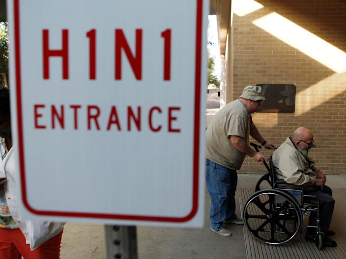 The entrance to a flu treatment facility in Arlington, Texas, in 2009.