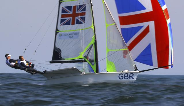 2016 Rio Olympics - Sailing - Preliminary - Men's Skiff - 49er - Race 7/8/9 - Marina de Gloria - Rio de Janeiro, Brazil - 15/08/2016. Dylan Fletcher (GBR) of Britain and Alain Sign (GBR) of Britain compete. REUTERS/Brian Snyder FOR EDITORIAL USE ONLY. NOT FOR SALE FOR MARKETING OR ADVERTISING CAMPAIGNS.
