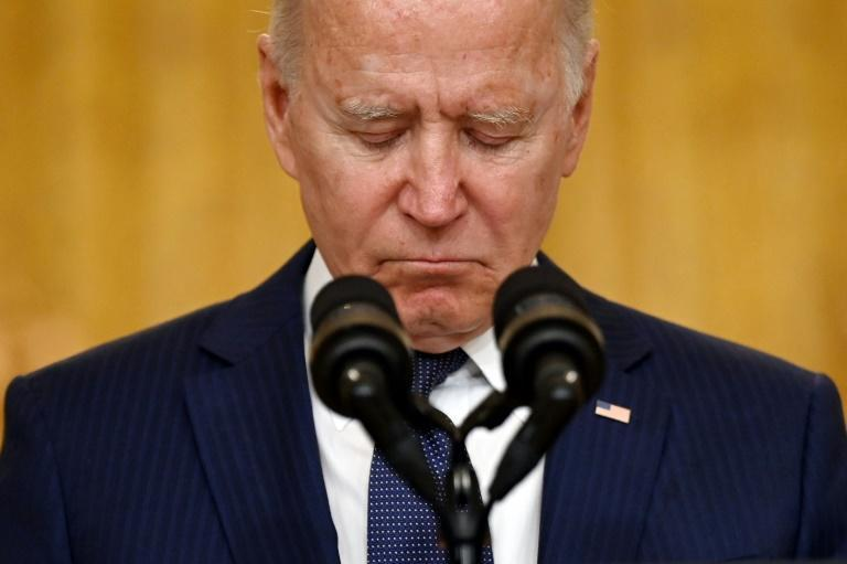 US President Joe Biden was visibly shaken by the attack on troops in Kabul (AFP/Jim WATSON)