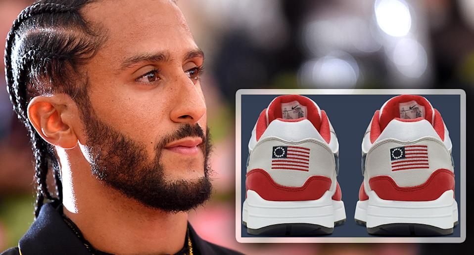 Colin Kaepernick and Nike shoes. (Photos: Jamie McCarthy/Getty Images, Nike)