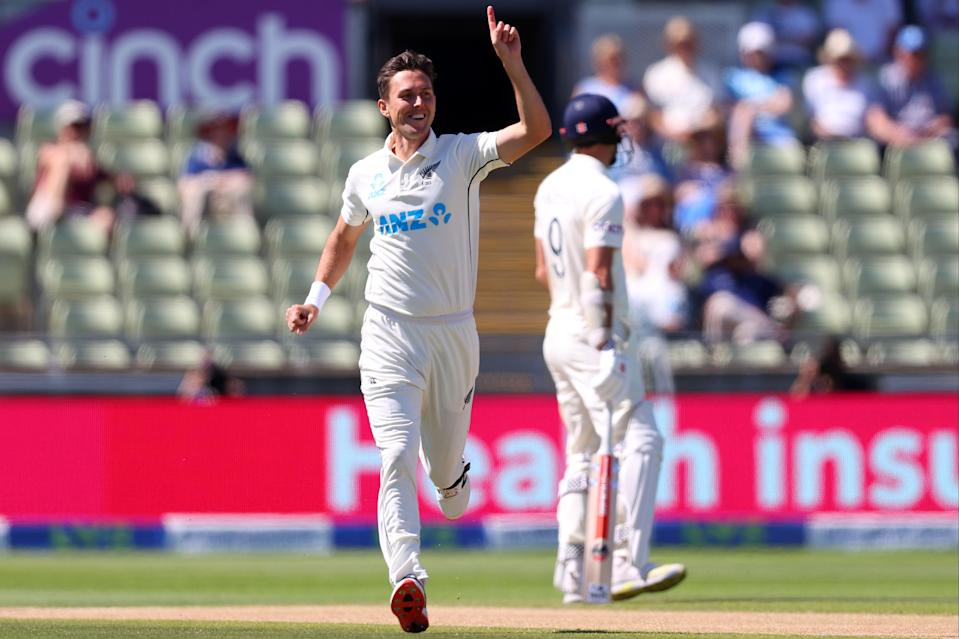 Trent Boult celebrates the wicket of Olly Stone, first ball of the day (Getty Images)
