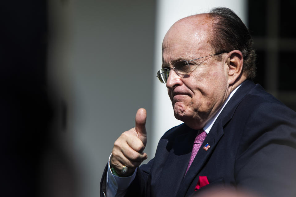 Rudy Giuliani stands as President Donald J. Trump participates in a signing ceremony for H.R. 1327, an act to permanently authorize the September 11th victim compensation fund, in the Rose Garden at the White House on July 29, 2019 in Washington, DC. (Photo: Jabin Botsford/The Washington Post via Getty Images)