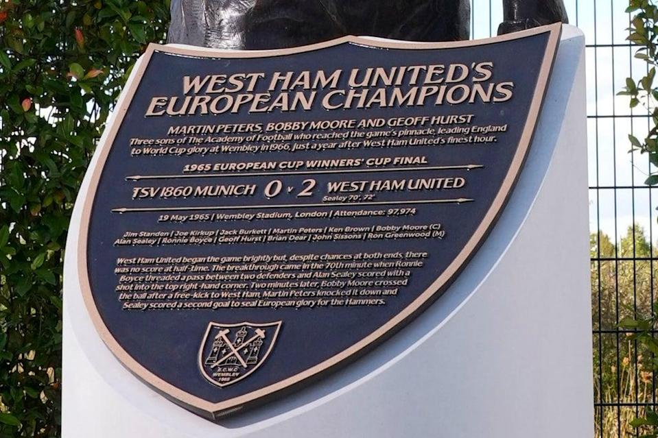 The plaque paying tribute to the three West Ham World Cup and European Champions (WHUFC)