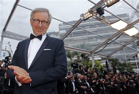 """Director Steven Spielberg arrives for the screening of the film """"Inside Llewyn Davis"""" at the 66th Cannes Film Festival"""