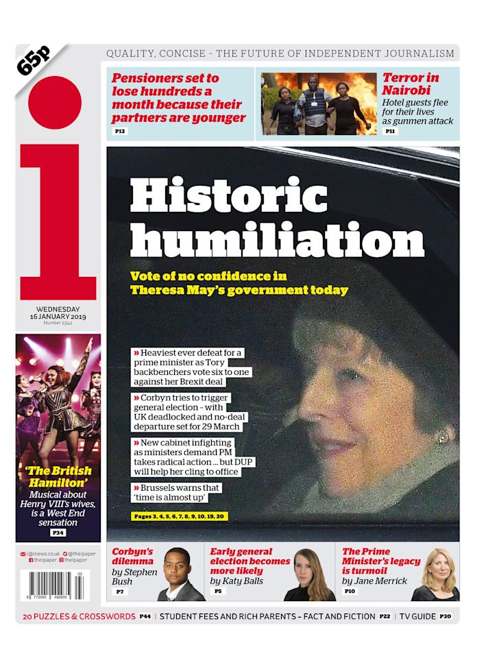 "<p>The i described it as a ""historic humiliation"" (Picture: The i) </p>"