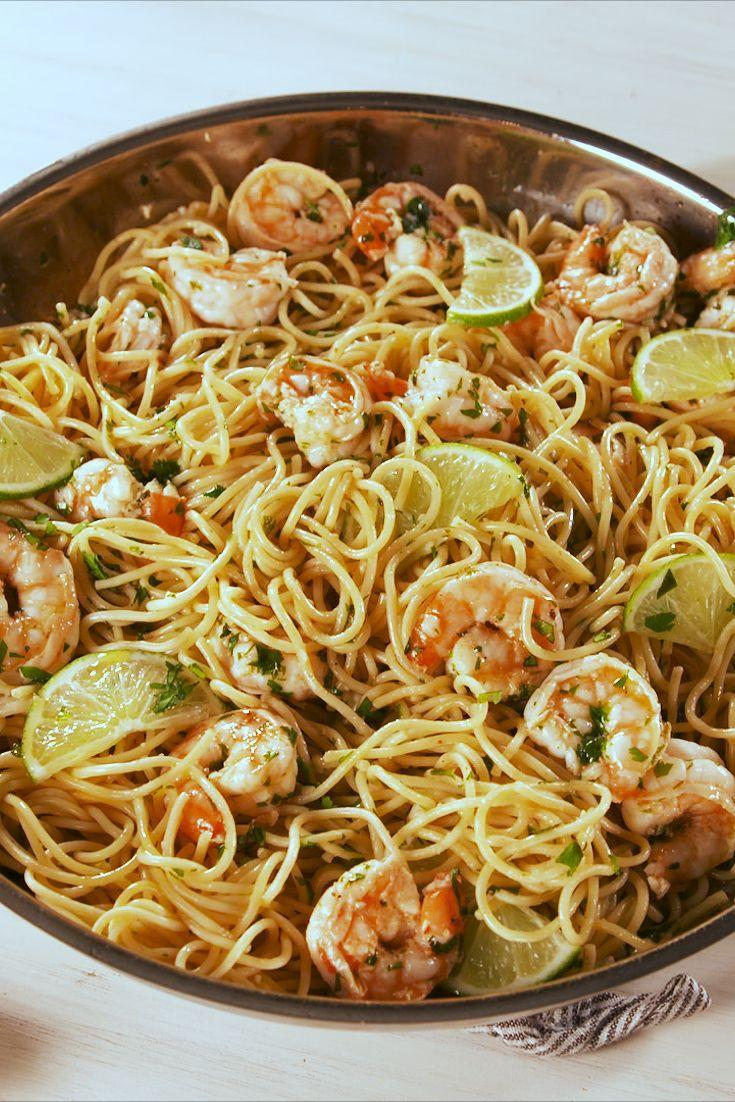 """<p>The garlicky butter sauce is out-of-this-world. </p><p>Get the recipe from <a href=""""https://www.delish.com/cooking/recipe-ideas/a19637739/cilantro-lime-shrimp-pasta-recipe/"""" rel=""""nofollow noopener"""" target=""""_blank"""" data-ylk=""""slk:Delish"""" class=""""link rapid-noclick-resp"""">Delish</a>. </p>"""