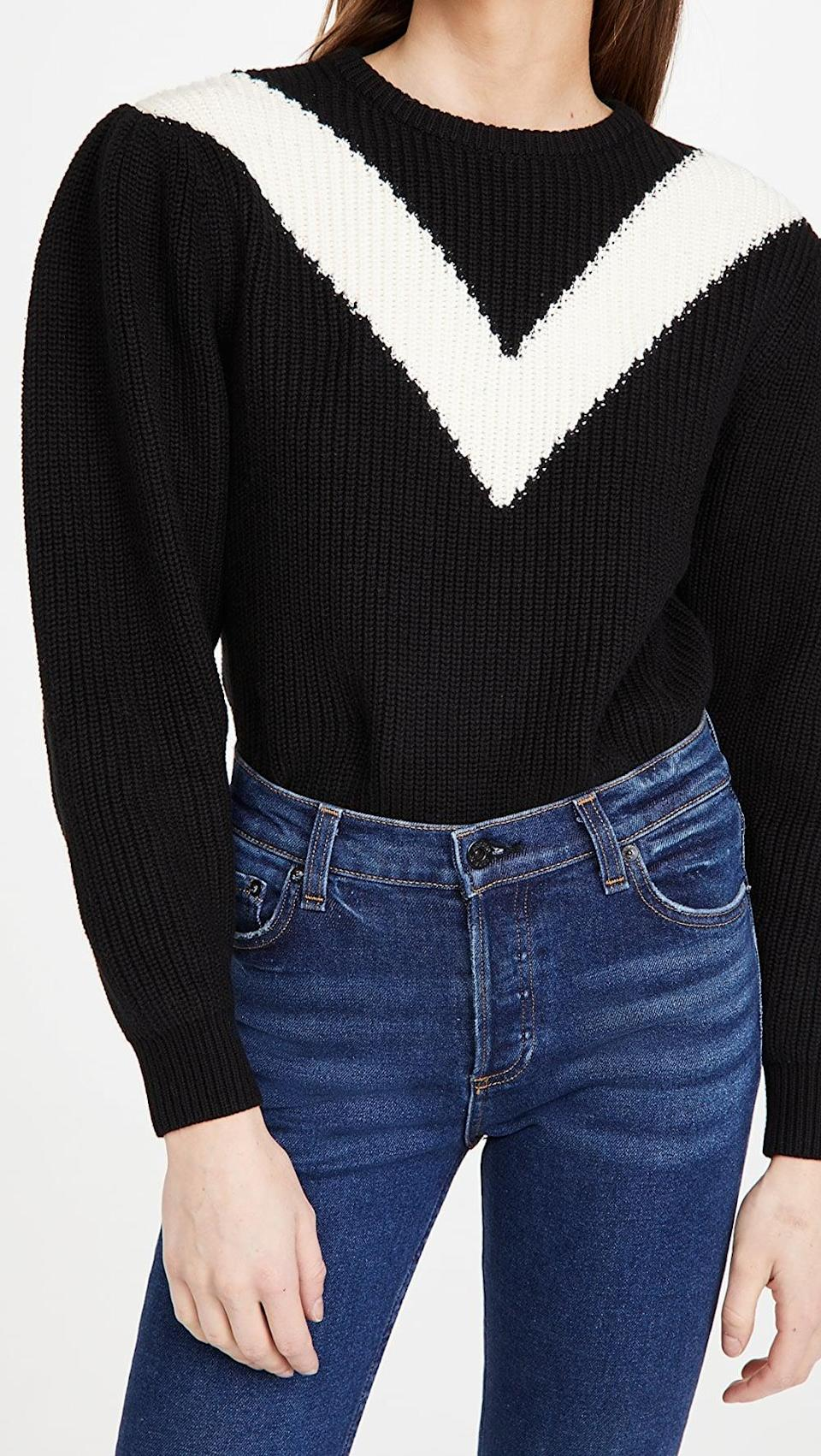<p>This <span>Victor Glemaud Intarsia V Neck Crew Sweater</span> ($210, originally $350) will earn you tons of compliments.</p>